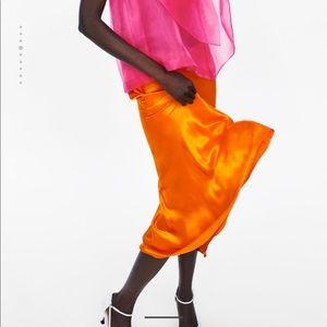 Zara Silk Satin Midi Skirt